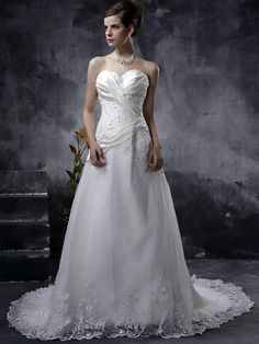 A-Line White with Tight Bodice in Chapel Train Wedding Dress