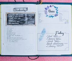 Interested in bullet journaling but need some inspiration? Check out these daily, weekly and monthly bullet journal layout examples! Bullet Journal Daily Spread, Monthly Bullet Journal Layout, Bullet Journal Junkies, Bullet Journal Inspiration, Journal Ideas, Bullet Journals, Creative Journal, Green Crafts For Kids, Science For Kids