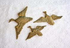 Small Brass Duck Wall Hangings, Vintage Bird Set