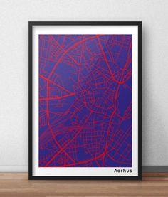 aarhus plakat i rød/blå