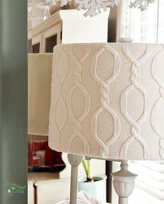 DIY Sweater Covered Lampshade at A Cultivated Nest ~ shared at DIY Sunday Showcase Link Party on VMG206 (Saturdays at 5pm CST). #diyshowcase
