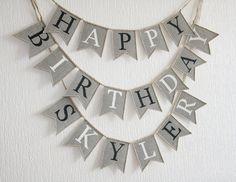 Happy Birthday Burlap Banner Personalized Burlap by FriendlyEvents