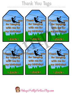 ZIPLINE Birthday Party Thank You Tags Zip by PokeysPrettyParties