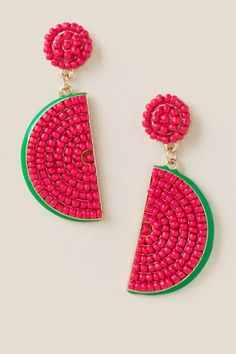 red watermelon earrings from francesca's Fashion Jewelry Necklaces, Diy Jewelry, Beaded Jewelry, Jewellery, Bead Embroidery Jewelry, Fabric Jewelry, Beaded Earrings, Beaded Bracelets, Bead Jewelry