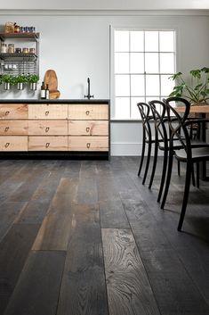 Berkeley Cellar Oak Flooring – Dark, distressed and distinctive. Cellar Oak is … Reclaimed Wood Floors, Wood Tile Floors, Dark Wood Floors, Reclaimed Wood Furniture, Kitchen Flooring, Oak Flooring, Hardwood Tile, Wood Walls, Pipe Furniture