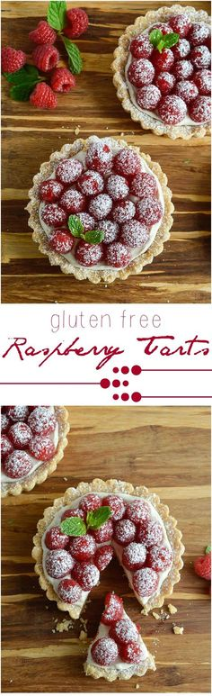 This Gluten Free Raspberry Tart Recipe will complete any holiday meal! A buttery gf tart crust filled with whipped vanilla cheesecake and topped with fresh raspberries. An easy, festive and delicious holiday dessert!
