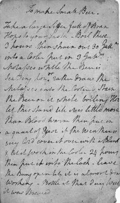 George Washington's personal handwritten beer recipe (a porter)!