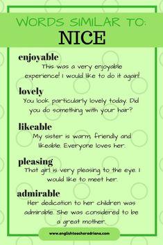 Vocabulario variado. NICE.