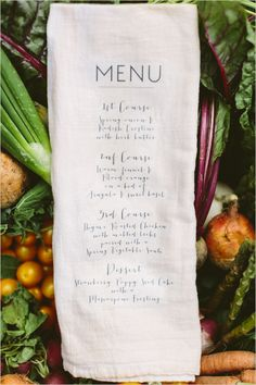 menu printed on napkin from Cluney Photo