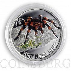 Niue 1 dollar Mexican Redknee tarantula Venomous spider color silver coin 2012