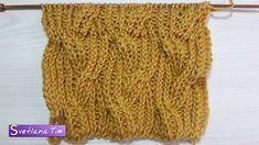 Вязание спицами. Узор Косы с полуанглийской резинкой # 526