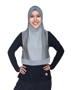 Metallic Silver Sporty Outfits, Modest Outfits, Muslim Fashion, Hijab Fashion, Sports Hijab, Crop Top Bra, Turban Style, Hijab Tutorial, Beautiful Hijab