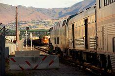 The inbound Amtrak engineer on the westbound Empire Builder has gone off duty and walks toward the station in Wenatchee, Washington.
