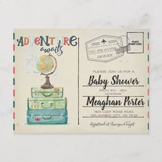 Vintage Travel Themed Baby Shower Invitation Postcard - baby gifts child new born gift idea diy cyo special unique design Baby Shower Registry, Baby Shower Niño, Baby Shower Gifts, Baby Gifts, Newborn Gifts, Baby Shower Images, Baby Shower Wording, Baby Presents, Vintage Travel Themes