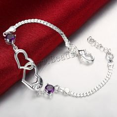 comeon® Jewelry Bracelet, Brass, with 2 lnch extender chain, Heart, real silver plated, with cubic zirconia, nickel, lead & cadmium free,china wholesale jewelry beads