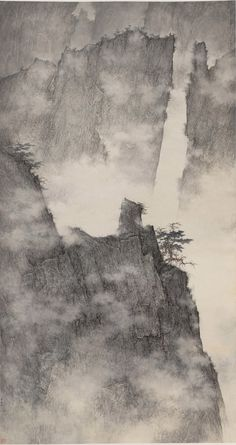 Li Huayi(李 華弌 Chinese/American, b.1948)  Central Hanging Scroll, Dragons Hidden in Mountain Ridges   2009   Ink on paper