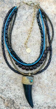Custom Black Buri Seed, Horn, Turquoise and Black Tibetan Tusk Necklace