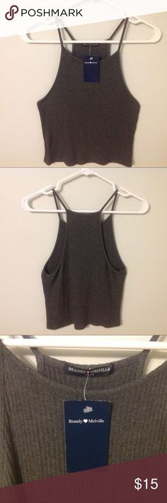 Brandy Melville tank Brandy Melville grey ribbed high neck tank New With Tags - one size fits all/small Brandy Melville Tops Tank Tops