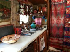 Lodge style decor in vintage camper Lake Lopez 2014.