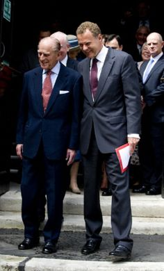 (L) Prince Phillip, Duke of Edinburgh with Lord Rothermere, President of the Journalists' Charity during a visit to the Journalists' Charity at the Stationers' Hall on 07 May 2014 in London, England.