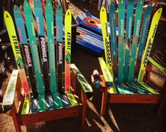 2 Retro Handcrafted Unpainted upcycled ski Adirondack chairs