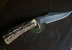 """The """"Griggs"""" knife is comprised of a 4-3/4"""" Damascus steeel blade, 416 stainless steel guard and a handle made of Sambar Stag."""