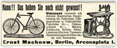 Original-Werbung/ Anzeige 1905 - FAHRRÄDER & NÄHMASCHINEN MACHNOW BERLIN -  ca. 90 X 35 mm