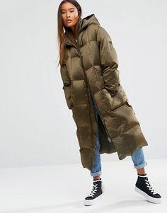 Army Green Slim Long winter padded jacket / leisure by dreamyil ...
