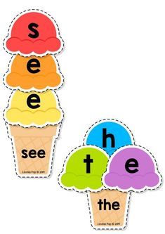 FREE Sight Words Center: Summer Ice Cream Sight Word Building {EDITABLE PDF} This book contains an editable sight word spelling activity intended for use in centers and small groups with children in Preschool Kindergarten (Prep) and First Grade. Kindergarten Centers, Preschool Literacy, Homeschool Kindergarten, Kindergarten Reading, Kindergarten Activities, Kindergarten Crafts Summer, Kindergarten Sight Word Games, Teaching Sight Words, Preschool Sight Words