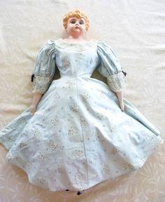 Antique 27  Minerva Germany Tin Head Doll Blue Glass Eyes-Molded Hair & Extras