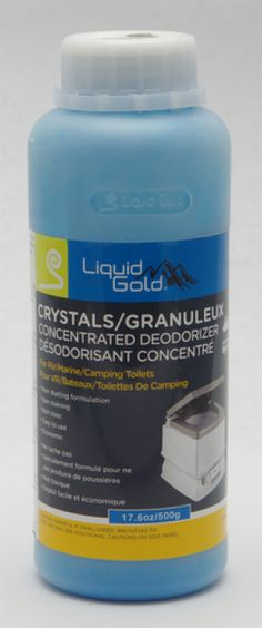 Liquid Gold Porta Potty Concentrated Deodorizer Crystals 16oz. Liquid Gold Granules are a concentrated deodorizer non dusting nonstaining and nontoxic and offer effective odor control for portable potties  For use in potties add 2oz to the holding tank for each 25 gallons capacity and add 1 quart of water agitate to mix  For waste holding tanks and recirculating chemical potties add 8oz and 1 gallon of water  Double the dosage for extended usage of more than 3 days  176oz bottle  Contains…