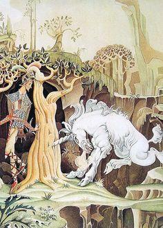 Fairy Tale Print - The Brave Little Tailor - 1975 Kay Nielsen Fairy Tale Illustration  Não o tipo de unicórnio que se vê todo dia, hm.