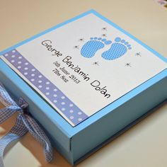 Personalised New Baby Memory Box - Baby Footsteps on Etsy, $46.19 AUD