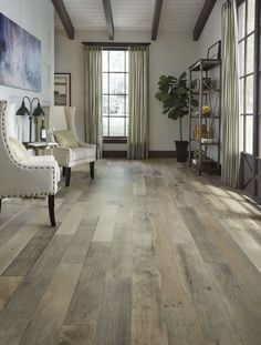 Dark trim----Freshen up your home with the latest flooring styles, like Vintage French Oak hardwood! Hardwood Floor Colors, Engineered Hardwood Flooring, Wooden Flooring, Hardwood Floors, Tile Wood, Flooring Ideas, Laminate Flooring, Vinyl Flooring, Home Design