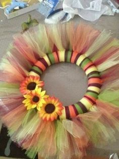 Items similar to Fall Tulle Wreath on Etsy Fall Tulle Wreath, Summer Wreath, Holiday Wreaths, Holiday Crafts, Tutu Wreath, Winter Wreaths, Spring Wreaths, Tulle Crafts, Wreath Crafts