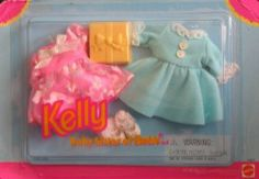 Barbie Kelly Party Fashions (1996) by Mattel. $21.99. For Ages 3+ Years. All provided details are to the best of my ability & may not be exact; colors, styles, sizes & details may vary.. Kelly, Baby sister of Barbie Doll Fashions is a 1996 Mattel production.. Includes: pink Party Dress w/iridescent bow at neck & sheer pink w/white & blue pattern over-skirt, blue Party Dress w/white lace cuffs & collar & 2 small white buttons on top, Pair of white Socks w/lace trim at cuff...