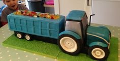 Tractor and trailer cake - exactly as the little monster requested! Tractor Birthday Cakes, 2 Birthday Cake, Fondant Cakes, Cupcake Cakes, Digger Cake, Tractors For Kids, Harry Birthday, Truck Cakes, Farm Cake