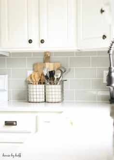 A Modern Farmhouse Kitchen Makeover - House by Hoff. Antique Metal Basket