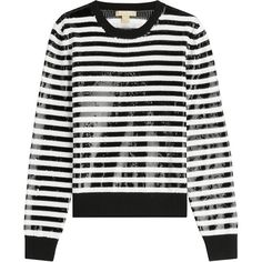 Michael Kors Striped Wool Pullover ($425) ❤ liked on Polyvore featuring tops, sweaters, stripes, pullover sweater, sequin pullover, stripe sweaters, stripe top and striped top