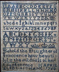 free cross stitch sampler patterns | Cross-stitch alphabet sampler worked by Elizabeth Laidman, 1760.