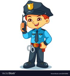 Police officer boy checking information with walky talky. Preschool Colors, Preschool Writing, Preschool Crafts, Police Officer Crafts, Security Guard Services, Kindergarten Songs, Kids Canvas, Black Fire, Community Helpers