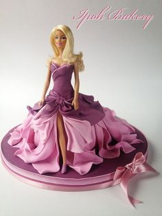 Barbie Doll cake with stunning pink and purple fondant gown - by William Tan