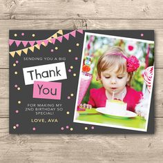 Photoshop birthday invitation templates free download kids girls birthday photo thank you card any age i customise for you to print bunting and confetti filmwisefo