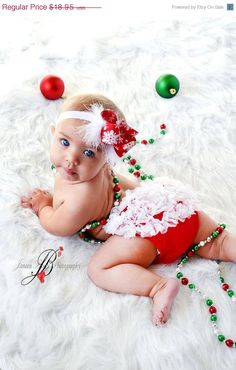 Christmas Set- Chiffon Ruffle Bum Baby Bloomers and Snowflake headband- Newborn Toddlers Photo Prop - Holiday Chirstmas pict. $18.95, via Etsy.