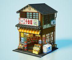 """ue_voxelさんのツイート: """"駄菓子屋さん🍘を作りました!☺️ ボクセルで細かいもの(駄菓子類)を表現するのはとても難しい…。🤔 #magicavoxel #voxelart… """" Stock Design, 3d Design, Game Design, Isometric Art, Isometric Design, Minecraft Welten, Japanese Buildings, Anime City, Building Concept"""