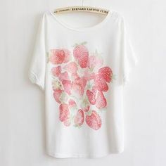 Buy 'LULUS – Strawberry-Print Loose-Fit T-Shirt' with Free International Shipping at YesStyle.com. Browse and shop for thousands of Asian fashion items from Taiwan and more!