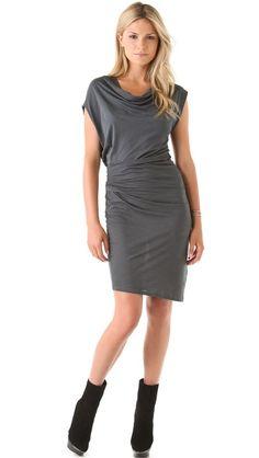 Helmut Lang Feather Jersey Draped Dress