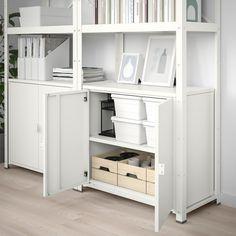 BROR Plank met kast, wit. Winkel vandaag - IKEA Ikea Shelving Unit, Shelves, Lerberg Ikea, Ikea Regal, Open Pantry, Galvanized Steel, Ikea Hack, Panel Doors, Plank