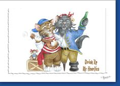 Drink Up Me Hearties - Pirate Cats- Set of 3 Notecards