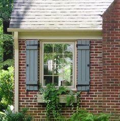 Trendy exterior window shutters on brick board and batten 50 ideas Shutters Brick House, Window Shutters Exterior, Outdoor Shutters, Black Shutters, Brick House Trim, Cottage Shutters, Wood Shutters, Exterior Paint Colors, Exterior House Colors